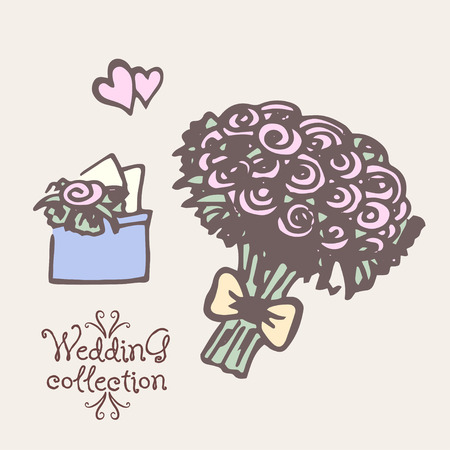 Wedding collection. Yand drawn Design elements. Vector illustration Vector