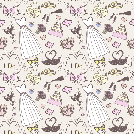 Wedding collection. Vintage seamless background. Vector illustration Vector