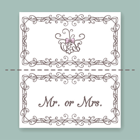 vintage frame: Wedding collection. Name Cards design template. Vector illustration Illustration