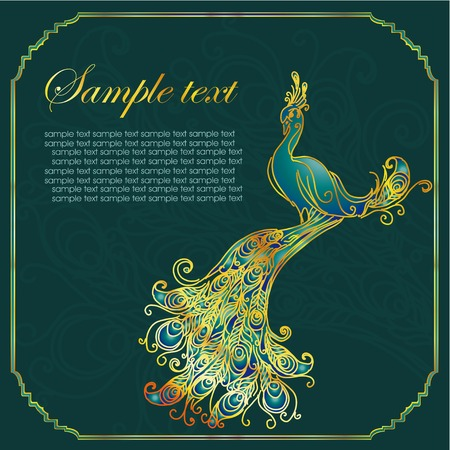 Vintage congratulation card with peacock. Vector illustration