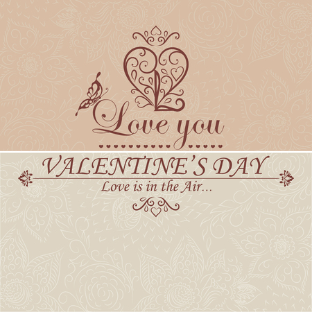 headline: Valentines Day type text calligraphic headline with love. Vector