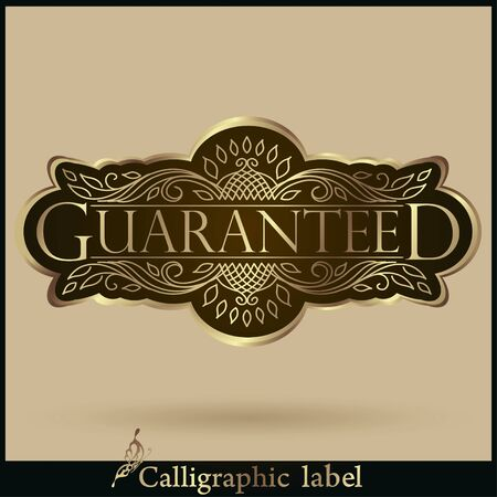 golden border: Vector illustration. Set of Labels Guaranteed, Premium Quality, Rate