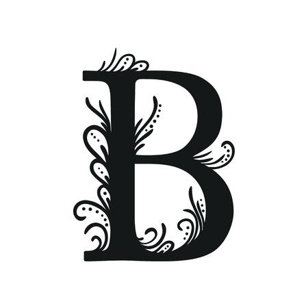decorative letters: Set of Isolated stylized calligraphic illustrations. ABC Illustration