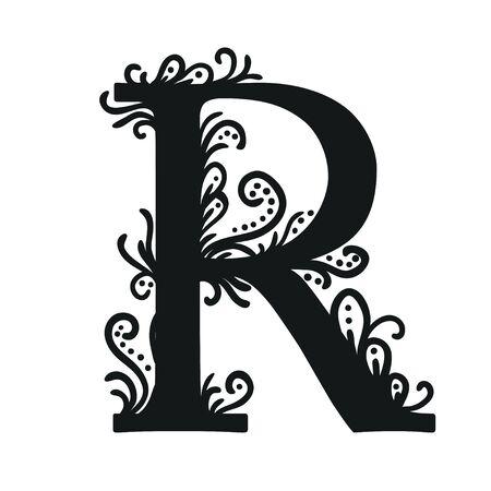 letras negras: Conjunto de ilustraciones aisladas caligráficas estilizados. Abecedario