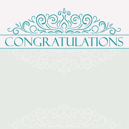 felicitaciones: Tarjeta de la vendimia del vector con el diseño del ornamento floral. Tarjeta de la enhorabuena Vectores