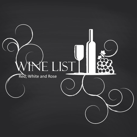 vineyard sunset: Wine list on blackboard background. Vector illustration. Illustration