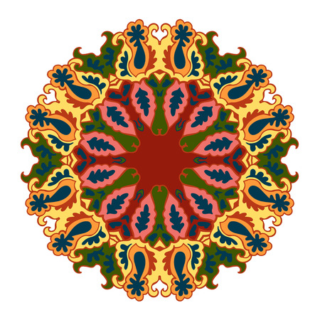 frilly: Ornamental round bright lace pattern. Vector illustration