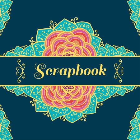 scrapbook background: Scrapbook background design template with flowers. Vector illustration Illustration