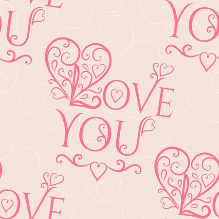 love: Valentine seamless hearts and Love you pattern. Vector Illustration