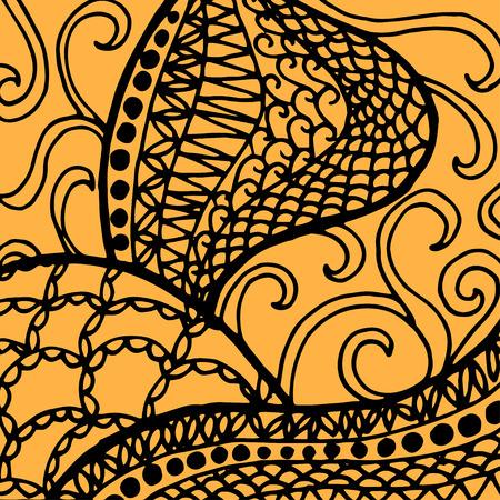 batik: Doodle abstract design pattern background. Vector illustration.