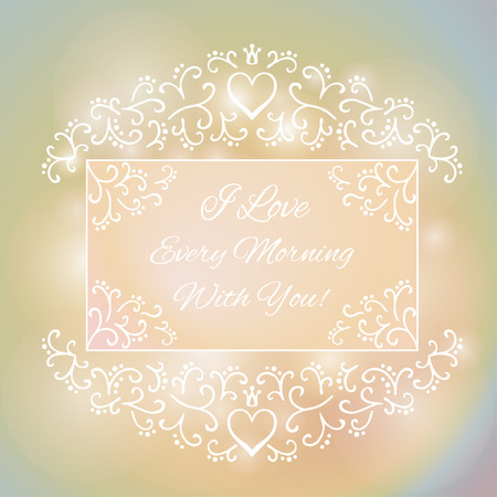Love You Text on Blurred background with floral ornament. Valentines Day Romantic Backdrop