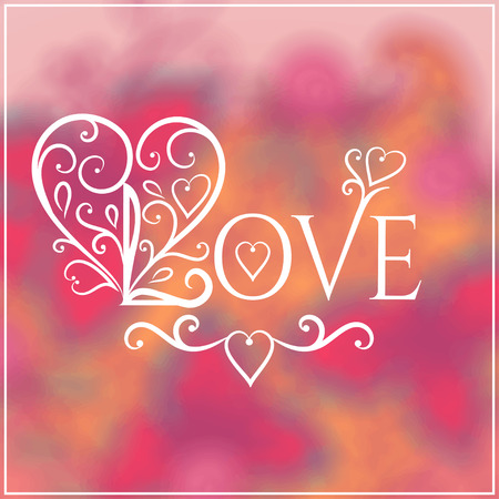 love you: Love You Text on Blurred background with floral ornament. Valentines Day Romantic Backdrop