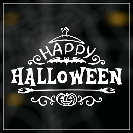 Happy Halloween message design on unfocused background. Vector illustration