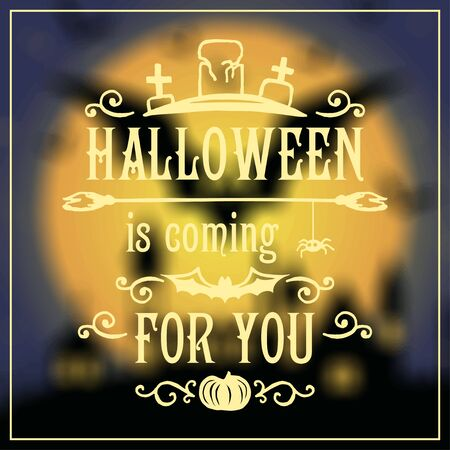 halloween message: Happy Halloween message design on unfocused background. Vector illustration