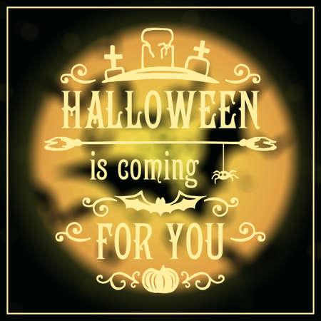 halloween message: Happy Halloween message design on unfocused background. Vector illustration