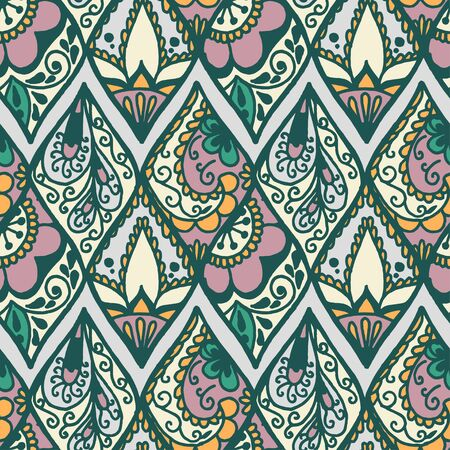 artistic flower: Seamless with vintage floral pattern. Vector illustration