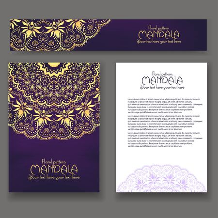 company name: Mandala pattern design template. May be used for Business card or Booklet. Vector illustration.