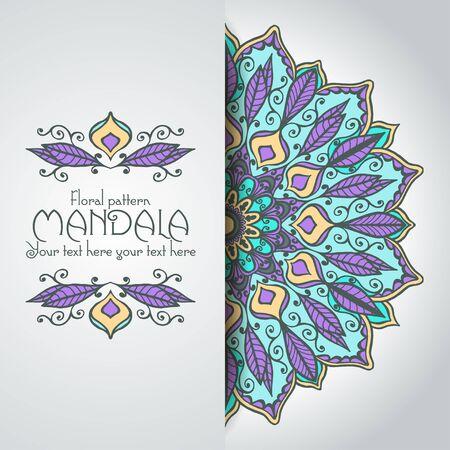 Mandala pattern design template. Vintage ethnic background frame. Vector illustration.