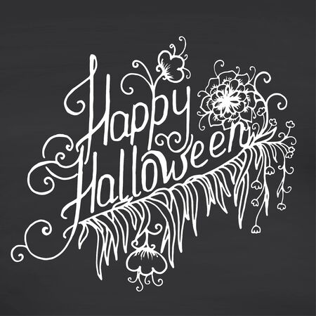 halloween message: Happy Halloween message design on chalkboard background. Vector illustration Illustration