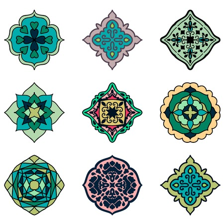 Colorful Moroccan tiles ornaments. Can be used for wallpaper, pattern fills, web page background, surface textures. Vector illustration Çizim