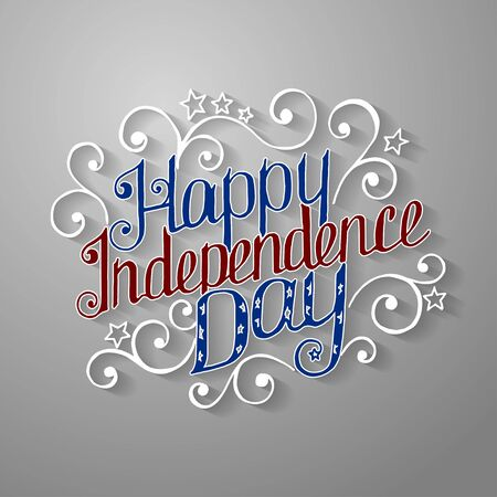 Happy Independence Day lettering with beautiful pattern. Vector illustration