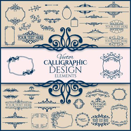 Set of floral vintage calligraphic frames and design elements. Vector illustration