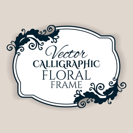 Calligraphic vintage frame with flowers. Vector illustration Stock Illustratie