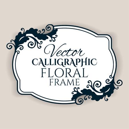 Marco de la vendimia caligráfica con flores. Ilustración vectorial