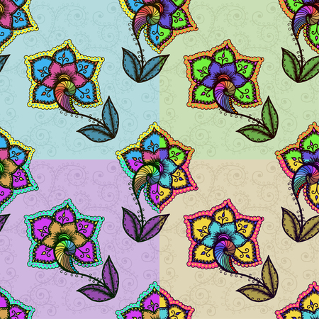 bright color: Seamless background with abstract colorful floral pattern. Vector illustration Illustration