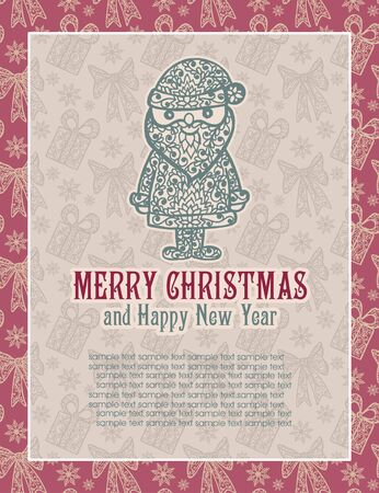 congratulations card: Merry Christmas lettering. Congratulations card. Vector illustration