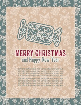 invitation frame: Merry Christmas lettering. Congratulations card. Vector illustration