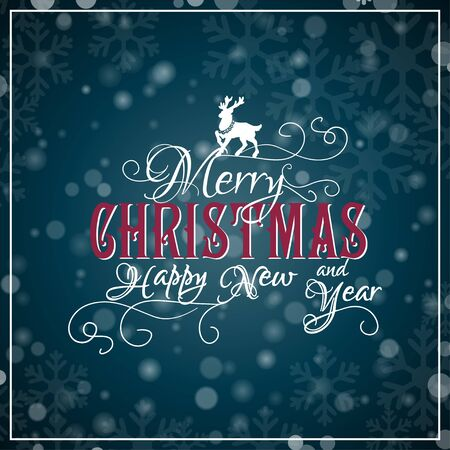 snowflakes: I wish you a Merry Christmas and Happy New Year lettering. Congratulations card. Vector illustration