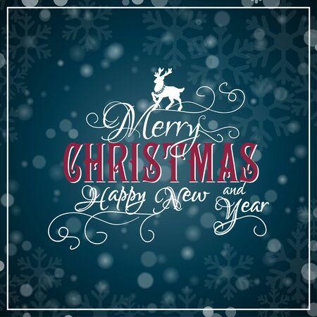 copo de nieve: Les deseo una Feliz Navidad letras y Feliz A�o Nuevo. Tarjeta de la enhorabuena. Ilustraci�n vectorial