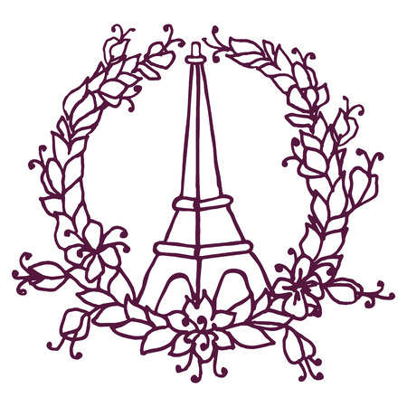killed: Hand drawing Eiffel Tower and Floral wreath. Pray for Paris. Vector illustration