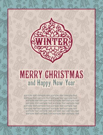 congratulations card: Merry Christmas lettering. Congratulations card.