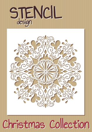Stencil design template. Christmas collection. illustration