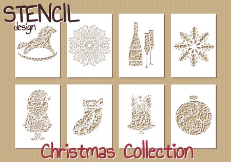christmas santa: Set of Stencil design templates. Christmas collection. Vector illustration