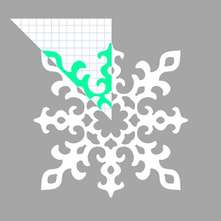 paper art projects: Stencil ornament for hand made snowflake. Vector illustration Illustration