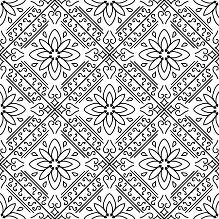 monochrome: Moroccan floral monochrome seamless ornament.