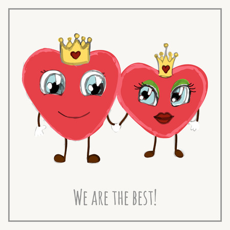 Congratulations card with hearts for Valentines Day collection. Vector illustration Illustration