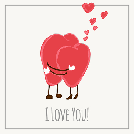 Congratulations card with hearts for Valentines Day collection. Vector illustration