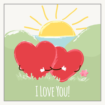 Congratulations card with hearts for Valentines Day collection. Vector illustration Ilustração