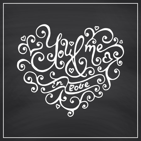 every day: Hand lettering. Valentines Day Blackboard background. Vector illustration