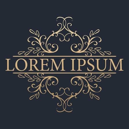 gold floral: Calligraphic design element. Boutique brand, golden logo design template. Vector illustration