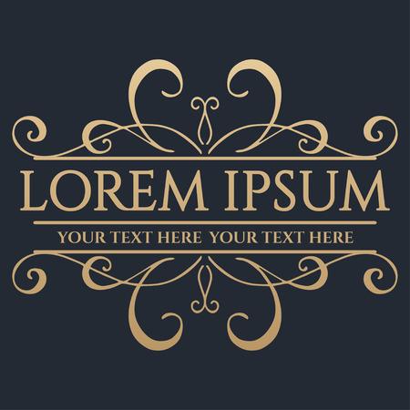 Calligraphic design element. Boutique brand, golden logo design template. Vector illustration Logo