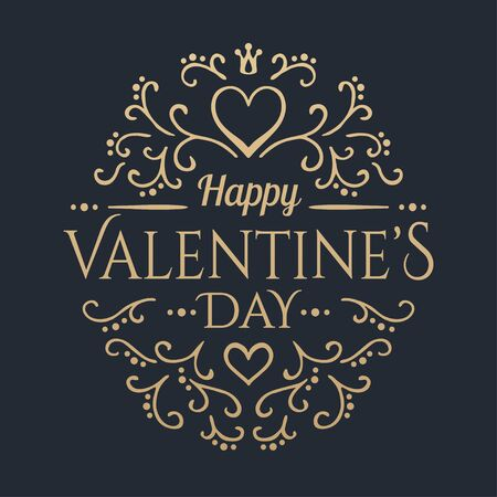 Happy Valentines day. Golden calligraphic floral lettering. Vector illustration Illustration