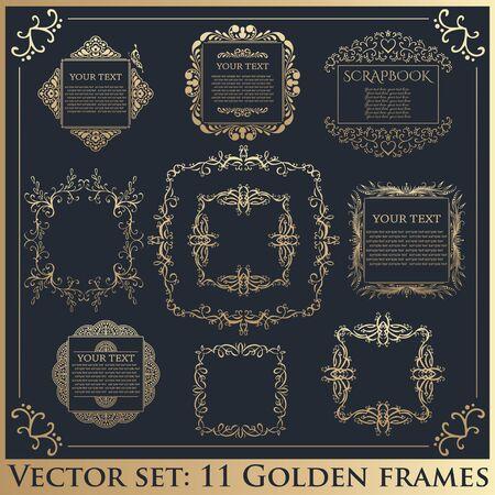 golden frames: Set of Vintage calligraphic floral golden frames. Vector illustration.
