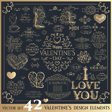 Happy Valentines day. Golden calligraphic floral lettering. Vector illustration Stock Illustratie