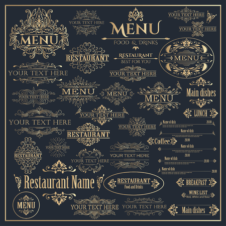 Set of golden calligraphic design elements for Restaurant Menu. Vector illustration