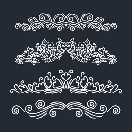 calligraphic design: Set of calligraphic design  elements. Vector illustration